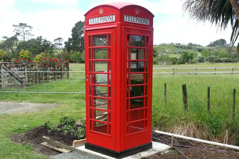 Red Phone Box in its new home in New Zeland