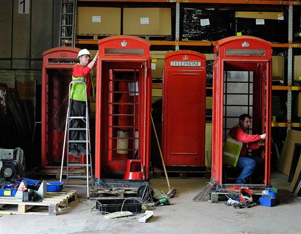 Red Phonebox being refurbished